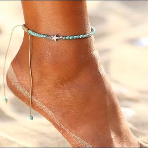 Turquoise Beaded Anklet with Silver Charm Accents